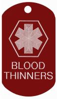 Blood Thinners Medical Dog Tag